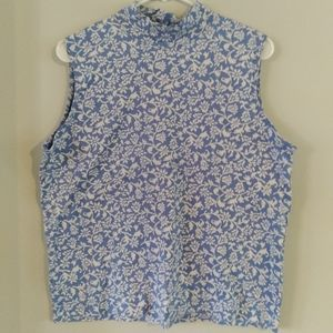 Lands' End  sleeveless high neck floral boat top